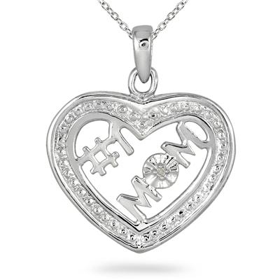 Diamond Heart Mom Pendant in .925 Sterling Silver