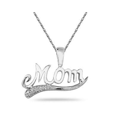 Diamond Mom Pendant in Solid .925 Sterling Silver