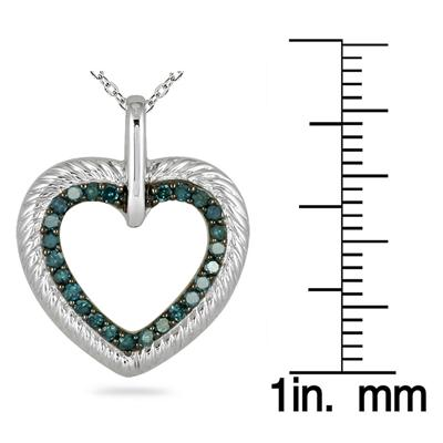 1/4 Carat Blue Diamond Heart Pendant in 10K White Gold