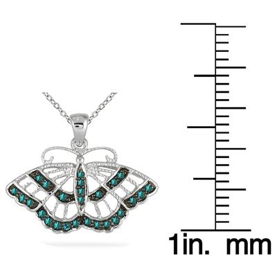 1/5 Carat Blue Diamond Butterfly Pendant in 10K White Gold