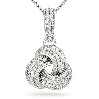 1/4 Carat Diamond Love Knot Pendant in 14K White Gold