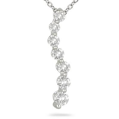 1/4 Carat Diamond Journey Pendant in 14K White Gold