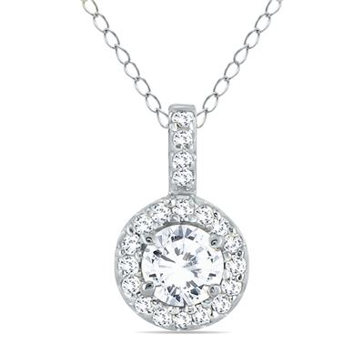 1/2 Carat Halo Diamond Pendant in 10K White Gold