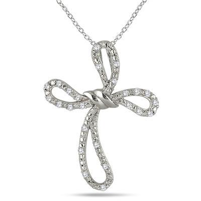 1/5 Carat Diamond Cross Pendant in .925 Sterling Silver