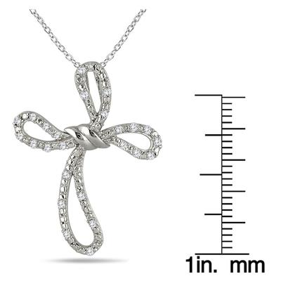 1/5 Carat Diamond Cross Pendant in .925 Sterling Silver