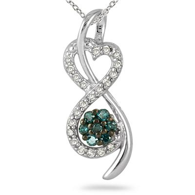 1/3 Cara Blue and White Diamond Pendant in 10K White Gold