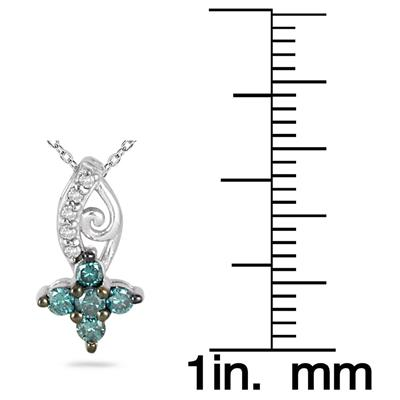 1/4 Carat Blue and White Diamond Flower Pendant in 10K White Gold