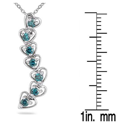 1/3 Carat Blue Diamond Journey Heart Pendant in 10K White Gold