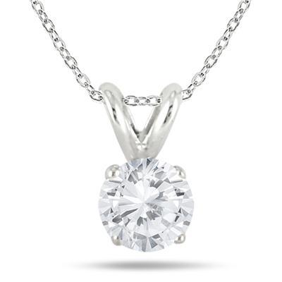 1/3 Carat Diamond Solitaire Pendant in .925 Sterling Silver