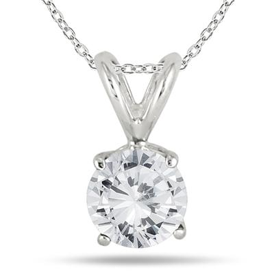 5/8 Carat Diamond Solitaire Pendant in .925 Sterling Silver