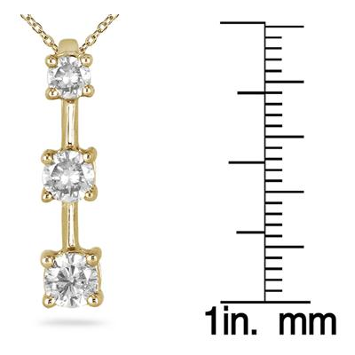 1.00 Carat Three Stone Diamond Pendant in 10K Yellow Gold