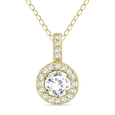 1/2 Carat Halo Diamond Pendant in 10K Yellow Gold