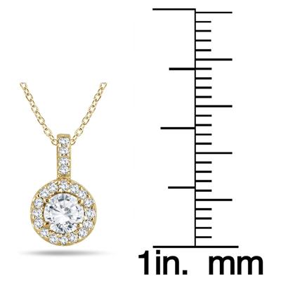 1/2 Carat TW Halo Diamond Pendant in 10K Yellow Gold