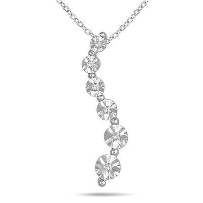 Diamond Journey Pendant in .925 Sterling Silver