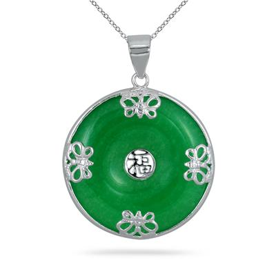 Green Jade Butterfly Luck Pendant in .925 Sterling Silver