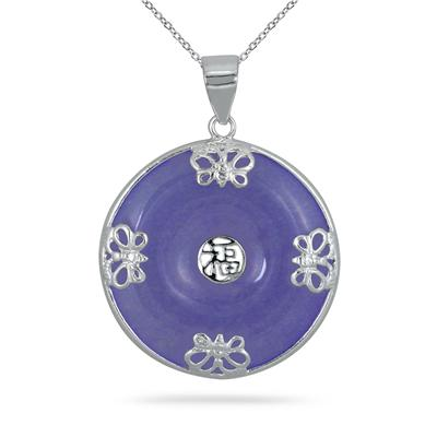 All Natural Lavender Jade Butterfly Pendant in .925 Sterling Silver