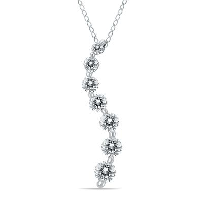 1/2 Carat Diamond Journey Pendant in 10K White Gold (K-L Color, I2-I3 Clarity)