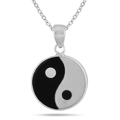 All Natural Onyx and Mother of Pearl Ying Yang Pendant in .925 Sterling Silver
