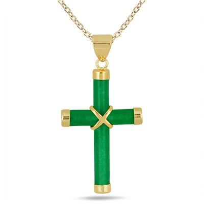 All Natural Green Jade Cross Pendant in 14K Gold Plated Sterling Silver
