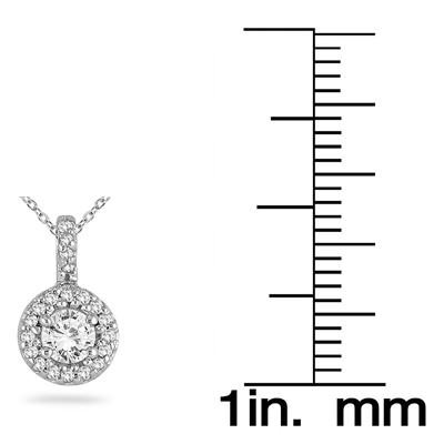 5/8 Carat Halo Diamond Pendant in 10K White Gold