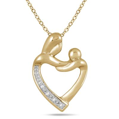 Mother and Baby Diamond Pendant in Gold Plated .925 Sterling Silver