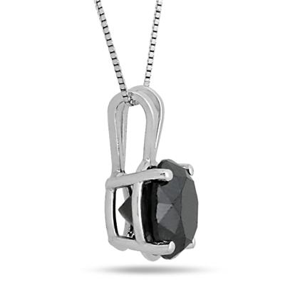 3 3/4 Carat Round Black Diamond Solitaire Pendant in 10k White Gold