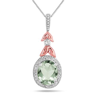2.75 Carat Green Amethyst and Diamond Pendant in Rose Gold Plated Sterling Silver