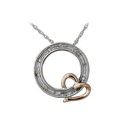 10-kt. Two-tone Circle Diamond Pendant