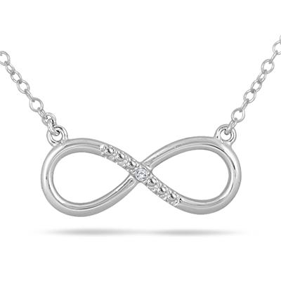 Diamond Infinity Pendant in .925 Sterling Silver