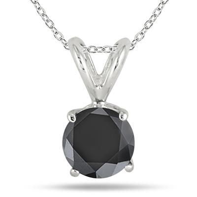 1 Carat Black Diamond Solitaire Pendant in .925 Sterling Silver