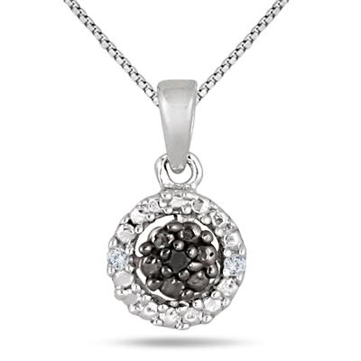 Black and White Diamond Halo Pendant in .925 Sterling Silver