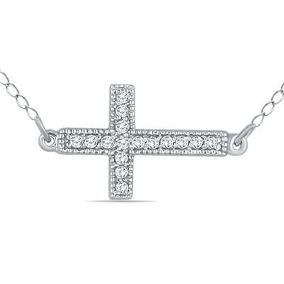 1/8 Carat TW Diamond Cross Pendant in 10k White Gold