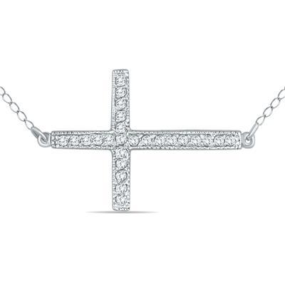 1/4 Carat Diamond Cross Pendant in 10K White Gold