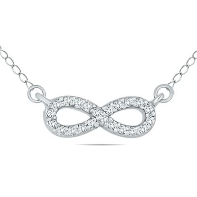 1/8 Carat Diamond Infinity Pendant in 10K White Gold