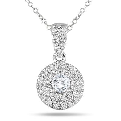 1/2 Carat TW Halo Diamond Pendant in 10K White Gold