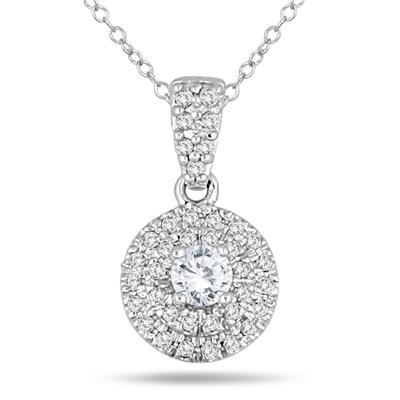 1/2 Carat Halo Diamond Pendant in 10K White Gold
