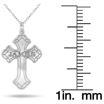 Custom Name Cross Pendant in .925 Sterling Silver