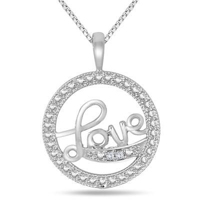 Diamond LOVE Pendant in .925 Sterling Silver