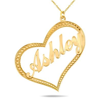 Custom Name Heart Pendant Necklace in 24K Gold Plated Sterling Silver