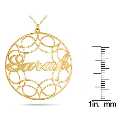 Custom Name Circle Pendant Necklace in 24K Gold Plated Sterling Silver