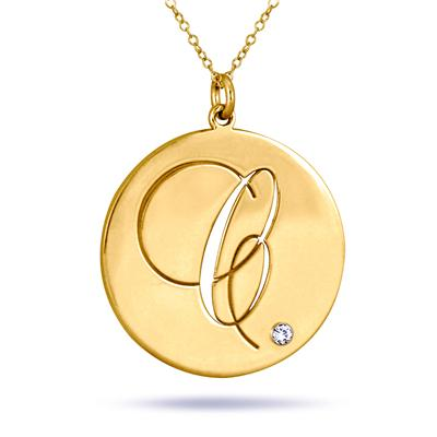Monogram Initial Diamond Pendant in 24K Gold Plated Sterling Silver