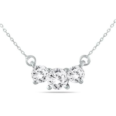 1.00 Carat Three Stone Diamond Pendant in 14K White Gold