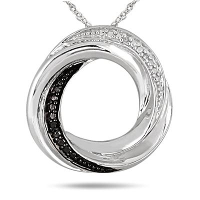 Black and White Diamond Infinity Circle Pendant in .925 Sterling Silver