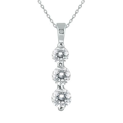 1 Carat Three Stone Diamond Pendant in 14K White Gold