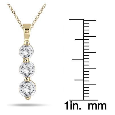 1 Carat Three Stone Diamond Pendant in 14K Yellow Gold