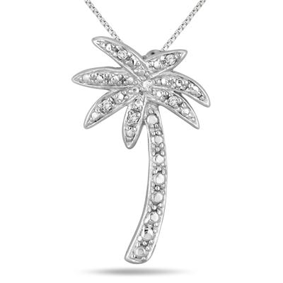 Diamond Palm Tree Pendant in .925 Sterling Silver