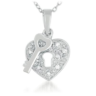 1/10 Carat Diamond Heart and Key Pendant in .925 Sterling Silver
