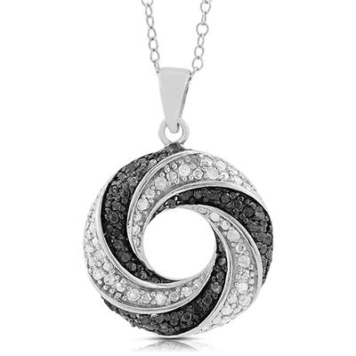1/2 Carat Black and White Diamond Circle Pendant in .925 Sterling Silver