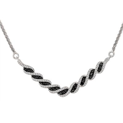 1/2 Carat White and Black Diamond Necklace in .925 Sterling Silver