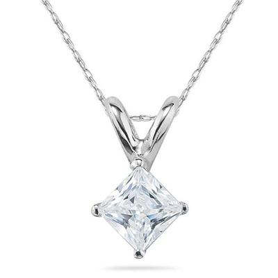 3/4 Carat Princess Diamond Solitaire Pendant in 14K White Gold
